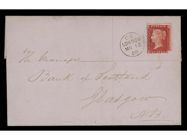Cancellations: Machine: 1858 (March 12th.) E. to Glasgow franked by 1856-58 1d. (corner missing), tied by the rare twin circle Creswell experimental cancel, very rare, two other examples are known both on small pieces, also copy of his patent for the Rotary stamping apparatus. R.P.S. Certificate (1972). Ex R.M. Willcocks. (349)