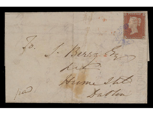 Violet: 1841 1d. KK good to large margins all round, used on 1844 (July 23rd.) E. to Dublin, tied by violet Cross of Newton Mount Kennedy, with faint matching datestamp on reverse, few imperfections, otherwise fine and extremely rare. Ex R.M. Willcocks. (436)