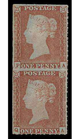 1848 Rouletted approx. 11½ (on three sides) by Henry Archer, 1d. PA-QA mint vertical pair, much original gum, both have faults. One of the few pairs known. R.P.S. Certificate (1969). S.G. £13000+ (452)