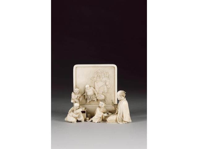 A sectional ivory okimono,
