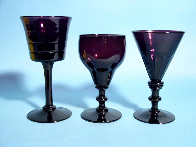 Three pairs of amethyst wine glasses, circa 1830,