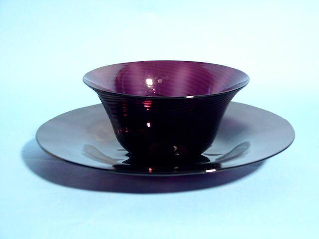 Eleven amethyst dessert bowls and stands, circa 1830,