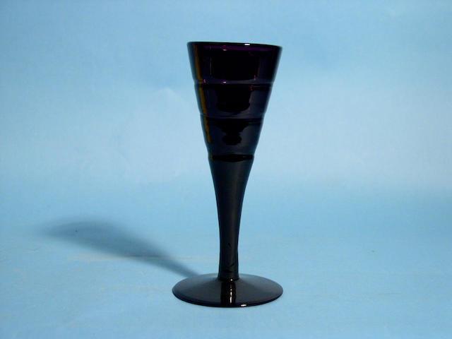 Eight amethyst wine glasses, circa 1830,