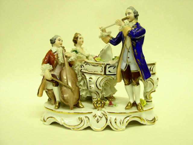 A group of six various continental figurines