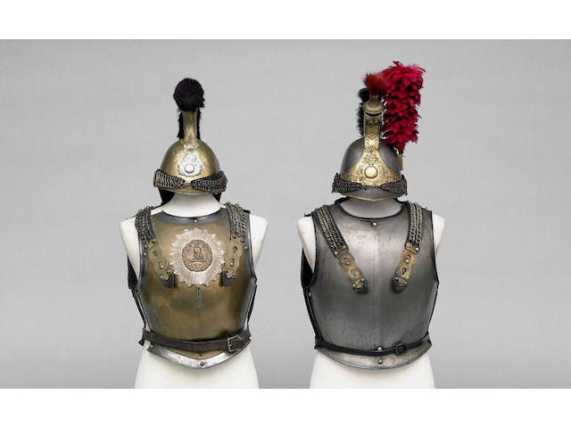 A French other rank's Cuirassier's helmet, breast and backplate