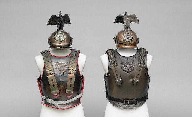 A trooper's helmet, breast and backplate of the Prussian Garde de Corps