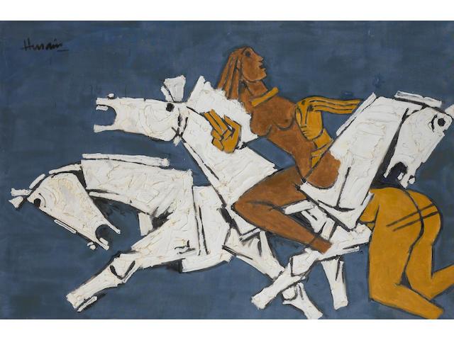 Maqbol Fida Husain, Horses and Nudes, o/c