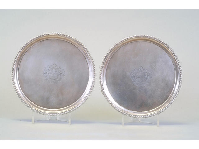A pair of George III salvers Joseph Angell, 1816,