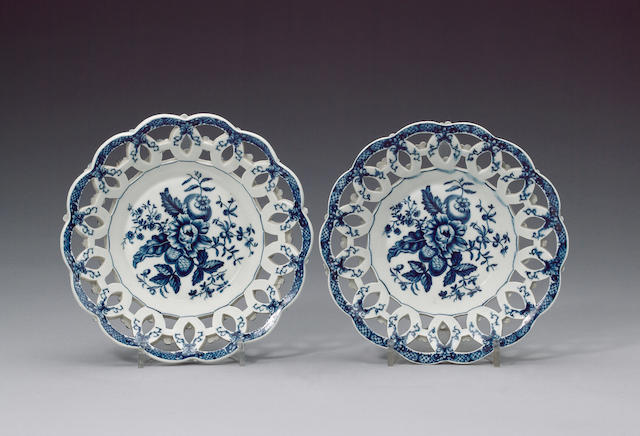 A pair of Worcester baskets circa 1770