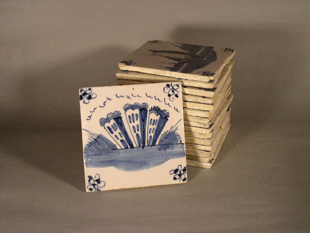 Sixteen English Delft tiles, mid to late 18th Century,