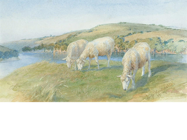Lucy Elizabeth Kemp-Welch (British, 1869-1958) Sheep grazing in summer pastures 5 1/2 x 9 1/2 in. (1