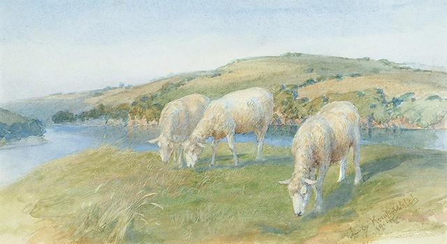 Lucy Elizabeth Kemp-Welch (British, 1869-1958) Sheep grazing in summer pastures 5 1/2 x 9 1/2 in. (1