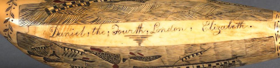 A Rare Edward Burdett Scrimshawed Sperm Whale's Tooth, circa 1828, 18.5cm (17 1/4in)