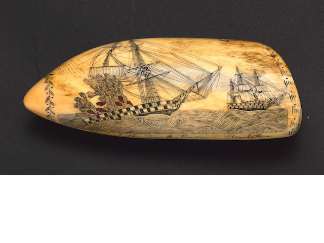 A Rare Edward Burdett Scrimshawed Sperm Whale's Tooth, circa 1828, 18.5cm (17 1/4in)
