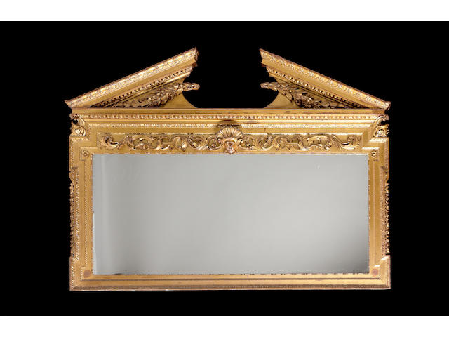 A late 19th century gilt carved overmantle mirror