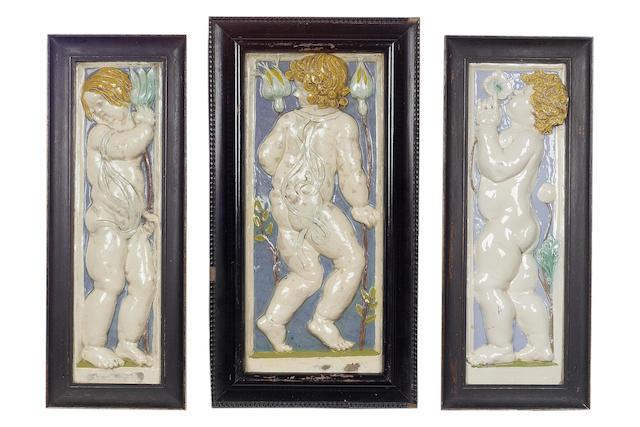 Della Robbia, attributed, circa 1890 Three Figural Plaques