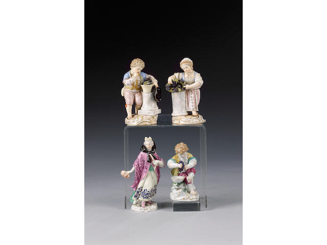 A pair of Meissen figures of a young boy and girl, circa 1880,