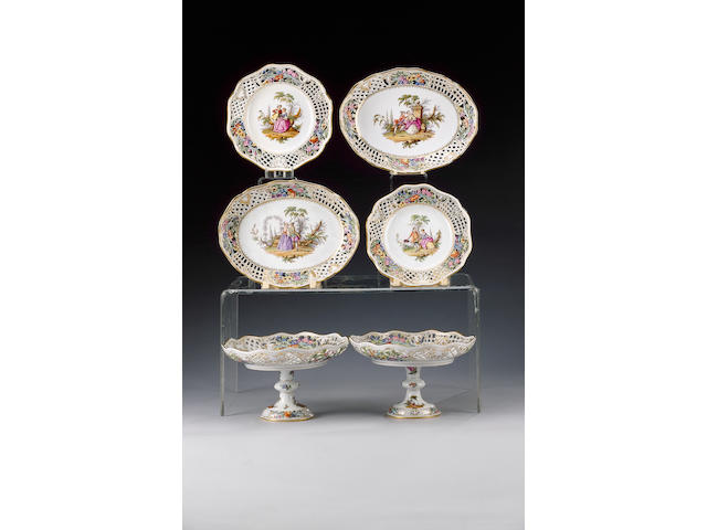 A Dresden pierced part dessert service, late 19th century,