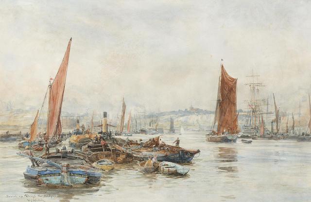 William Lionel Wyllie (British, 1851-1931) 'Bound up through the bridges' 30.5 x 47cm. (12 x 18 1/2in.)