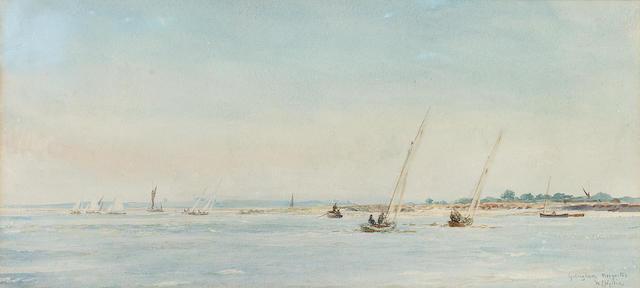 William Lionel Wyllie (British, 1851-1931) 'Gillingham Mosquitoes' 15.2 x 32.4cm. (6 x 12 3/4in.)