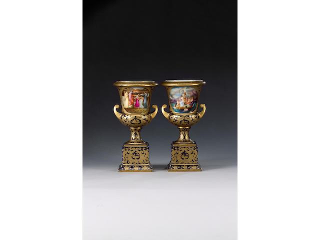 A pair of Vienna style vases, circa 1900,