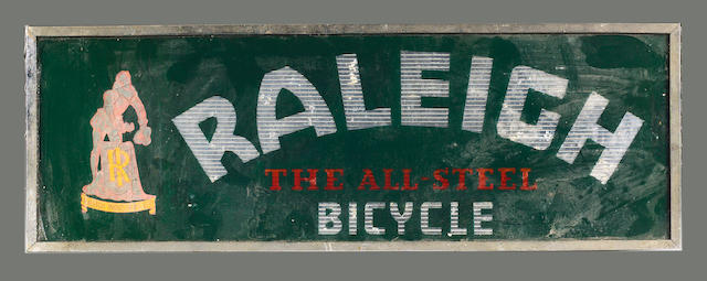 A Raleigh 'The All Steel Bicycle' hanging glass advertising sign,