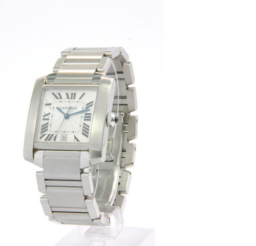 Cartier. A stainless steel automatic calendar wristwatch  Tank Francais, late 1990s