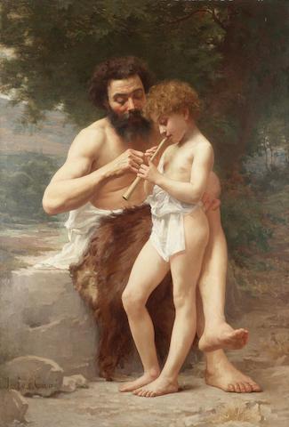 Jules Cyrille Cavé (French 1859-1940) La leçon de flûte 155 x 107 cm. (61 x 42 in.)