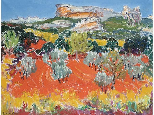 Frederick Gore (British, b.1913) Olive grove in a Mediterranean summer landscape 27 x 35 1/2 in. (69 x 90cm.)