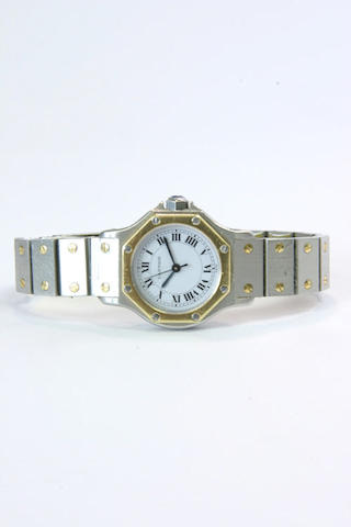 Cartier. A lady's steel and gold automatic wristwatch'santos' 1980s