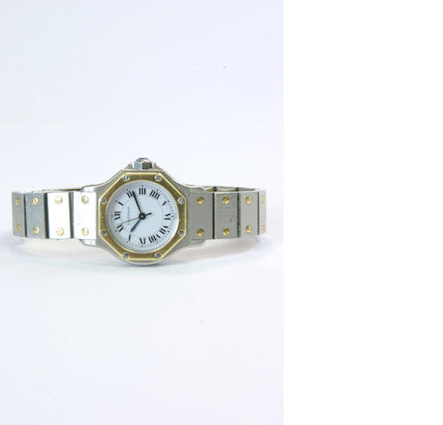 Cartier. A lady's steel and gold automatic wristwatch 'santos' 1980s