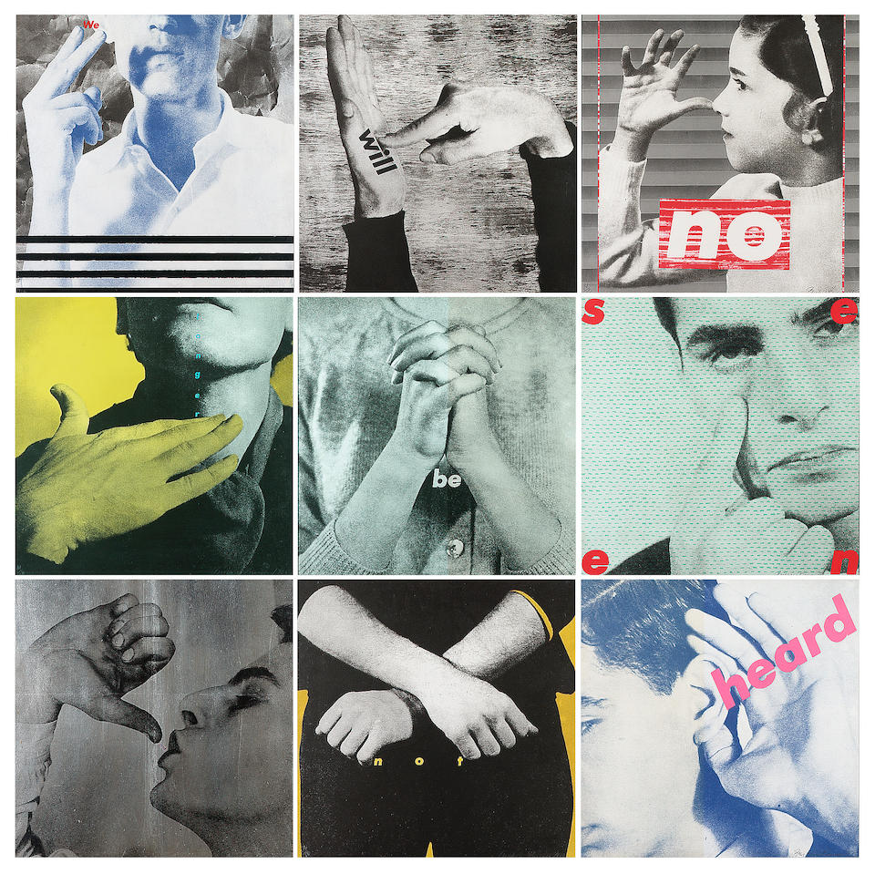 Barbara Kruger  We will no longer be seen and not heard Colour offset lithographs, 1985, the set of
