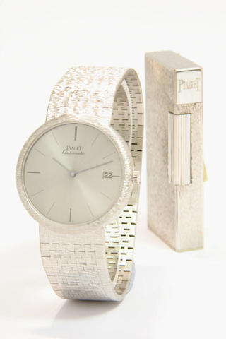 Piaget. An 18ct white gold automatic calendar bracelet watch with an 18ct white gold lighter 1960s