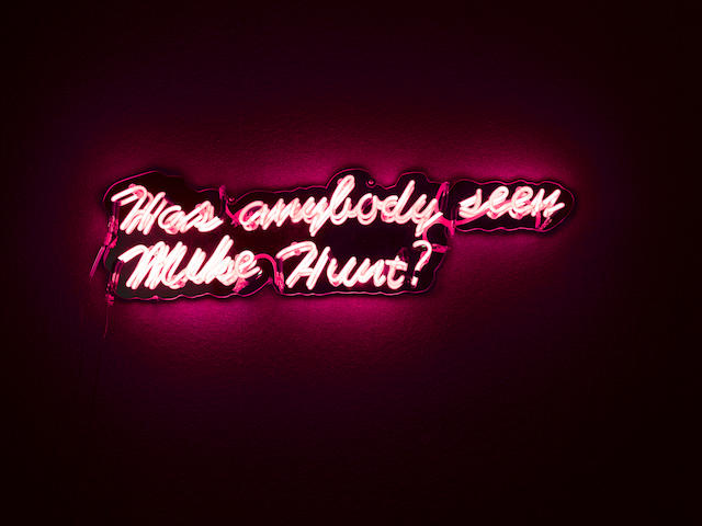 Morag Myerscough & Charlotte Rawlins (b.1963 and 1972) 'Has anybody seen Mike Hunt?' 26.5 x 97 x 7 cm. (10 1/2 x 38 1/4 x 2 3/4 in.)