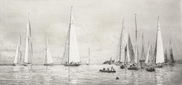 William Lionel Wyllie (British, 1851-1931) Yacht Racing at Cowes Etching, a fresh impression, on wove, with margins, signed in pencil; apparently in excellent condition, unexamined out of the frame, 170 x 350mm (6 3/4 x 13 3/4in) (PL)