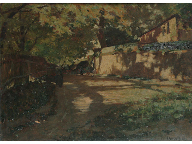 Hans Licht (German, 1876-1935), Figures on a village road 50 x 70cm.