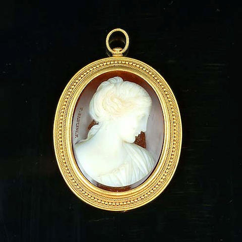 A mid 19th century hardstone cameo brooch/pendant, by Tommaso Saulini,