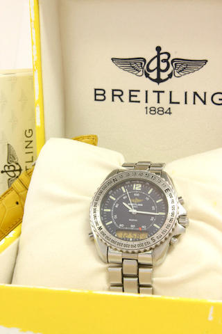 Breitling. A stainless steel analogue and LCD quartz alarm chronograph calendar wristwatch  model 'P