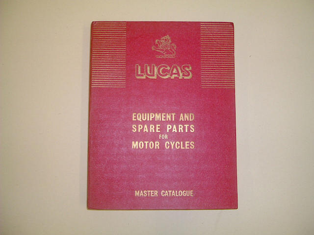 A Lucas Equipment and Spare Parts Master Catalogue for Motorcycles 1936-57,