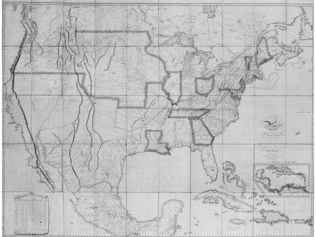 AMERICA MELISH (JOHN) Map of the United States with the Contiguous British and Spanish Possessions...Improved to 1823