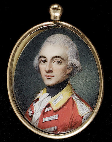 English School, An Officer, called William Sotheby, of the 10th Dragoons, wearing scarlet coat, with yellow collar, silver buttonholes and epaulettes