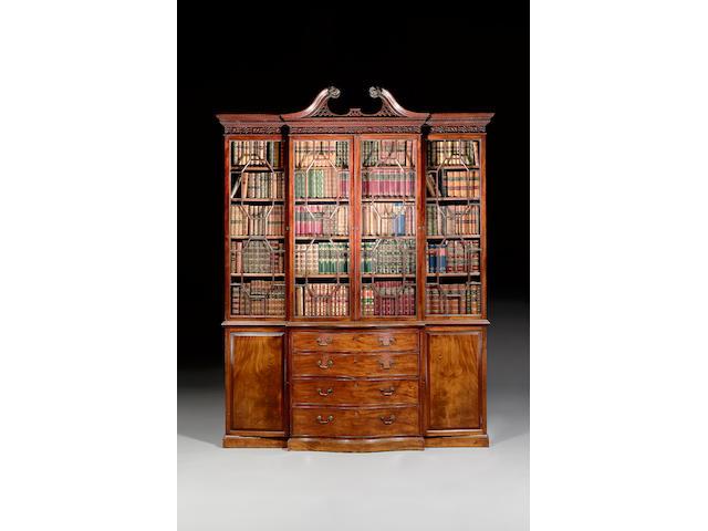 GIII mahogany serpentine bookcase