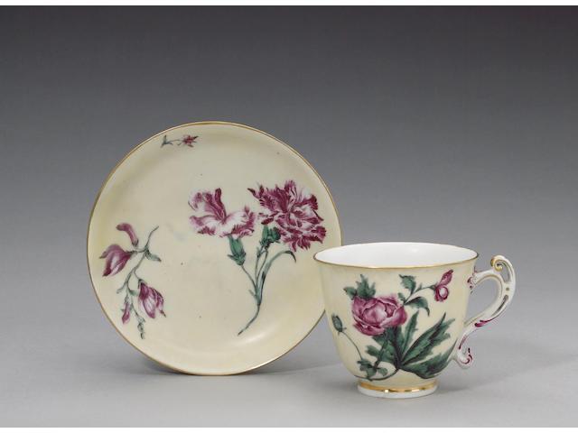 A rare Chelsea botanical cup and saucer circa 1765