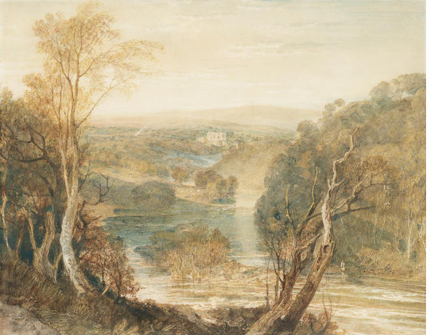 Joseph Mallord William Turner, R.A. (British, 1775-1851) Distant view of Barden Tower on the river W