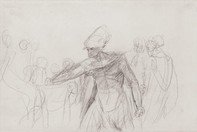 George Romney (British, 1734-1802) Mucius Scaevola 27.5 x 41.5 cm. (10 3/4 x16 1/4 in.)
