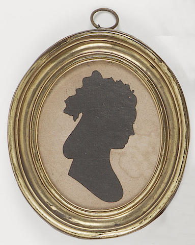 Sarah Harrington, A pair of silhouettes of husband and wife; Mr. Scriven, profile to the left, his hair in a pigtail; Mrs. Scriven, profile to the right, her hair in banging chignon