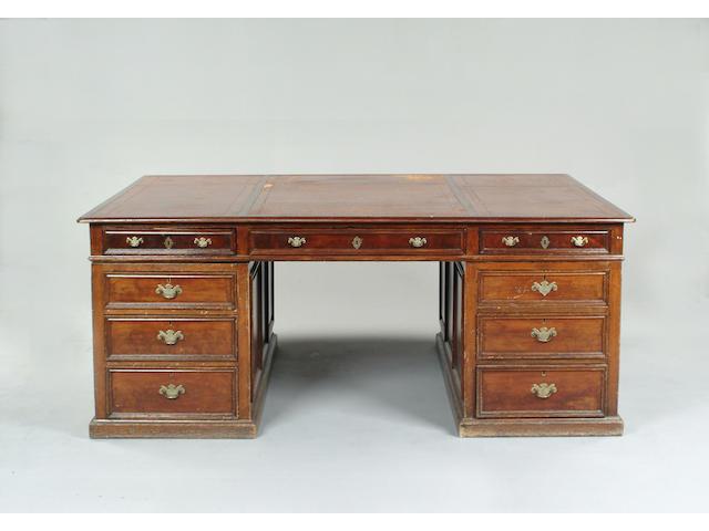 A Victorian oak partner's pedestal desk