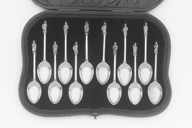 A set of twelve Victorian parcel-gilt ice cream spoons, by Wakely & Wheeler London 1890, retailed by Manoah Rhodes of Bradford,