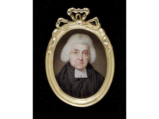 Henry Bone R.A., Archibald Maclaine D.D. (1722-1804), wearing black robes, white bands and powdered bag wig