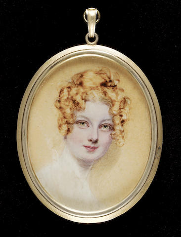 Attributed to Mrs. James Robertson (née Christina Sanders), Marguerite, Countess of Blessington (1789-1849), head and shoulders, her hair curled